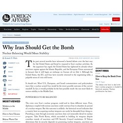 Position du CFR (2012) Why Iran Should Get the Bomb