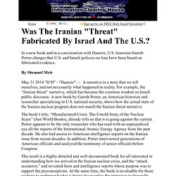 "Was The Iranian ""Threat"" Fabricated By Israel And The U.S.?"