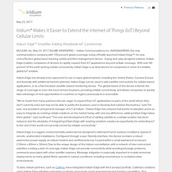 Iridium® Makes it Easier to Extend the Internet of Things (IoT) Beyond Cellular Limits (NASDAQ:IRDM)