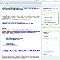 irosteveperry / RESEARCH RESOURCES AND RESEARCH TUTORIALS FROM UNIVERSITY LIBRARIES