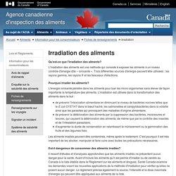 ACIA 22/03/14 Irradiation des aliments (FAQ)