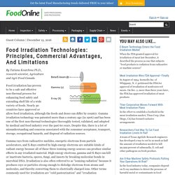 FOODONLINE 15/12/16 Food Irradiation Technologies: Principles, Commercial Advantages, And Limitations