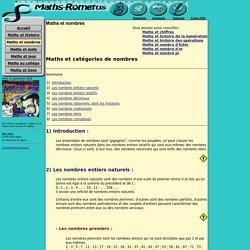 CATEGORIE DE NOMBRES : Maths-rometus, Nombres entiers, Nombres décimaux, Nombres rationnels, Nombres irrationnels, Nombres réels, Nombres complexes, Mathématiques, Maths, Math, Jean-Luc Romet