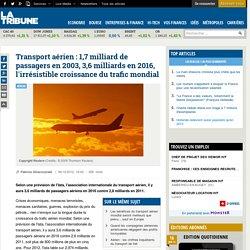 Transport aérien : 1,7 milliard de passagers en 2003, 3,6 milliards en 2016, l'irrésistible croissance du trafic mondial