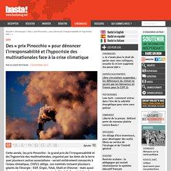 Des « prix Pinocchio » pour dénoncer l'irresponsabilité et l'hypocrisie des multinationales face à la crise climatique