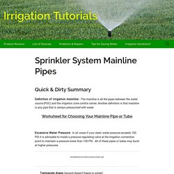 Irrigation Mainlines