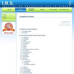 IRS - comment gérer son stress