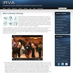 IRVA - What is Remote Viewing