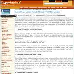 Irvine Home Loans How to Choose The Best Lender