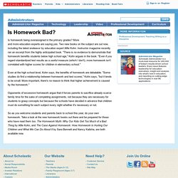Is Homework Bad?