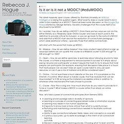 Is it or is it not a MOOC? (#eduMOOC)