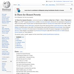 Is There for Honest Poverty