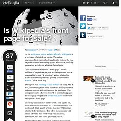 Is Wikipedia's front page for sale?