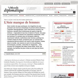 L'Asie manque de femmes, par Isabelle Attané (Le Monde diplomatique, juillet 2006)
