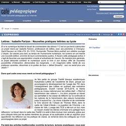 Lettres : Isabelle Farizon : Nouvelles pratiques lettrées au lycée