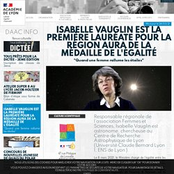 Isabelle VAUGLIN est la première lauréate pour la Région AURA de la médaille de l'égalité