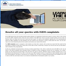 Resolve All Your Queries With ISBM Complaints
