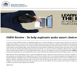 ISBM Review - To Help Aspirants Make Smart Choices