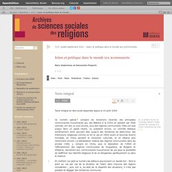 Islam et politique dans le monde (ex-)communiste