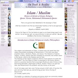 Islam Muslim: Islamic Religion, History, Beliefs. Quran / Koran, Mohammed Quotes