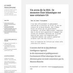 Un aveu de la DIA : le monstre État Islamique est une créature US