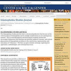 Islamophobia Studies Journal | Center For Race Gender | CRG