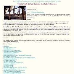 The Ismaili da'wa Outside the Fatimid dawla