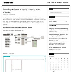 isolating revit warnings by category with dynamo