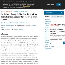NATURE 24/01/20 Isolation of Angola-like Marburg virus from Egyptian rousette bats from West Africa