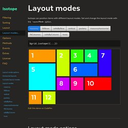 Isotope · Layout modes