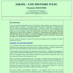 Israël : une histoire d'eau