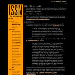 ISSN for Weblogs (Joe Clark: fawny.org)