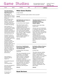 Game Studies 2015