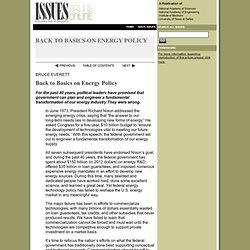 Issues In Science And Technology, Fall 2012, Back to Basics on Energy Policy