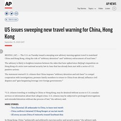 US Issues Significant Travel Advisory for China and Hong Kong