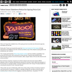 Yahoo Issues Takedown Notice for Spying Price List