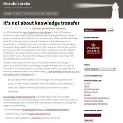 It's not about knowledge transfer