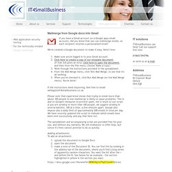 Google mailmerge - IT4SmallBusiness - IT support and consultancy