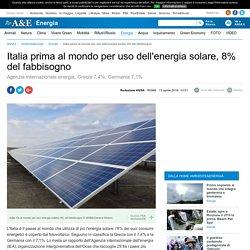 Italia prima al mondo per uso dell'energia solare
