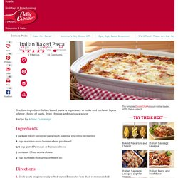 Italian Baked Pasta recipe from Betty Crocker