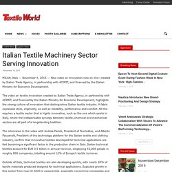 Italian Textile Machinery Sector Serving Innovation