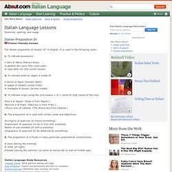 how to explain italian prepositions