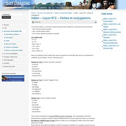 Italien – Leçon N°2 – Verbes et conjugaisons