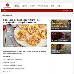 Bouchées de saucisses italiennes et fromage dans une pâte won ton - Recettes - Ma Fourchette