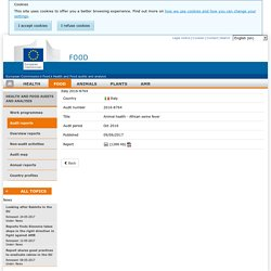 DG SANCO 09/06/17 Rapport OAV: IT Italy - Animal health - African swine fever
