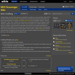 Item Crafting - Neo Scavenger Wiki