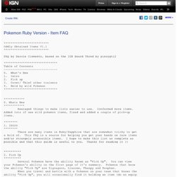 Pokemon Ruby Version Item FAQ