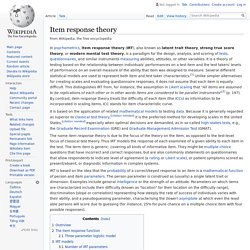 Item response theory - Wikipedia