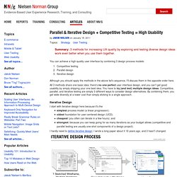 Parallel & Iterative Design + Competitive Testing = High Usability