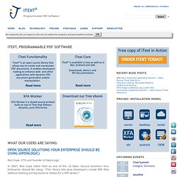 iText ® - Free / Open Source PDF Library for Java and C#